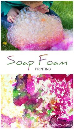 Soap Foam Printing is a fun, creative art activity for kids!   Fireflies and Mud Pies