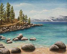 Sand Harbor Lake Tahoe by Darice Machel McGuire Secret Cove Lake Tahoe, Sand Harbor Lake Tahoe, My Photo Gallery, Photo Galleries, Beautiful Paintings, Beautiful Images, Lake Tahoe Vacation, Fine Art America, Original Paintings