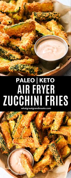 This ultra crispy paleo and keto zucchini fries recipe uses crushed pork rinds for the low carb breading. Served with the most addicting and delicious fry sauce! #paleo #keto #glutenfree #dairyfree #lowcarb #zucchinifries #airfryer #airfryerrecipes #whole30 Dairy Free Recipes, Paleo Recipes, Real Food Recipes, Snack Recipes, Keto Snacks, Appetizer Recipes, Paleo Side Dishes, Side Dish Recipes, Dinner Recipes
