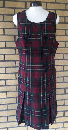 Sag Harbor Petite Size 8  Red Green Plaid Jumper Dress Wool Lined  #SagHarborPetites #Jumper #Casual