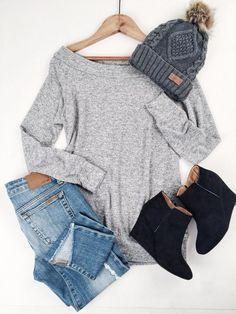 Jeans | skinnies | sweater | boatneck | beanie | hat | booties | wedges | fall | spring