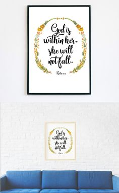 "☆ A Beautiful Print for your Home. Watercolor frame with a Bible verse.☆  ""God is within her, she will not fall."" Psalm 46:5  Make your house look cozy and bright with this print!  Instant download print-ready digital file: A4 8"" x 11""  Letter 8.5"" x 11"""