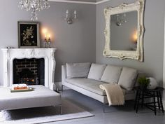 Living room in Pavilion Gray and Strong White by Farrow & Ball Living Room Grey, Home And Living, Hallway Colours, Wall Colours, Paint Colours, Pavilion Grey, Living Room Inspiration, Decorating Your Home, Living Spaces