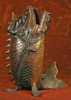 Early Meiji Period Japanese Bronze Incense Burner in the form of a Dragon Fish, a mythical animal.