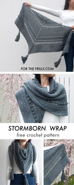crochet scarves The Stormborn Wrap is an easy crochet pattern thats perfect for fall. Bobbles, mesh and chunky tassels create a fun and modern crochet shawl. Easy and free crochet patt Bobble Crochet, Crochet Wrap Pattern, Crochet Video, Bobble Stitch, Chunky Crochet, Beginner Crochet, Crochet Shawls And Wraps, Crochet Scarves, Crochet Clothes