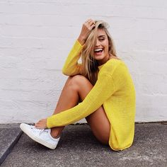 sneakers and long sweater