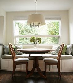 Breakfast Nook: IKEA kitchen cabinets as seating bench