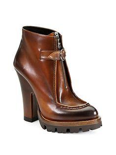 Prada - Leather Zipper-Detail Platform Ankle Boots