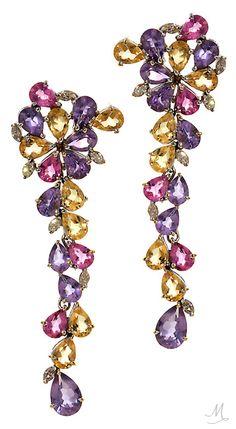 Graziela Gems | Pink Waterfall Earrings with Amethyst, Yellow Beryls, Pink Tourmalines and Diamonds