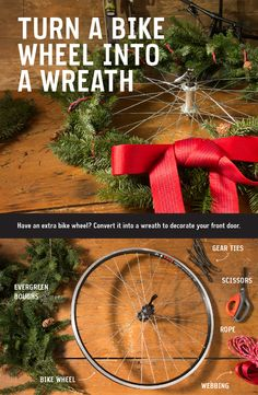 Have an extra bike wheel in your garage? Upcycle it into a unique wreath for