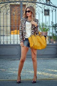 Liking the dressed up cut offs & tees using a blazer & bold jewellery