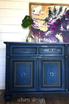XL colbalt blue painted tv console, dark blue buffet cabinet is part of Blue Buffet cabinet - This piece is sold and only up for portfolio purposes Blue Furniture, Chalk Paint Furniture, Refurbished Furniture, Recycled Furniture, Furniture Makeover, Diy Furniture, Furniture Refinishing, Patterned Furniture, Moroccan Furniture