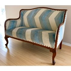 Vintage Chevron Fabric Upholstered Bench Settee For Sale - Image 5 of 13 Chair Upholstery, Sofa Chair, Couch, Unusual Furniture, Chevron Fabric, Upholstered Bench, Settee, Living Room Bedroom, Nook