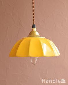 ぬくもりが感じられる陶器のペンダントライト(アンブレラ・イエロー)(ギャラリー付きコード・シャンデリア電球)(pl-267)|照明・ライティング Ceiling Lights, Lighting, Pendant, House, Home Decor, Decoration Home, Home, Room Decor, Hang Tags