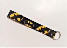 "Handmade Wristlet Keychain 1"" Key Fob 7""L 6.5"" opening Batman Nice Gift #handmade #batman #keychain #keyfob #gifts"