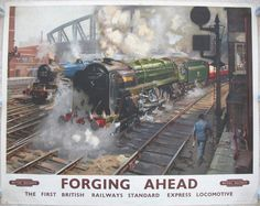 """Forging Ahead - The First British Railways Standard Express Locomotive, by Terence Cuneo. Green steam locomotive 70000 """"Britannia"""" is depicted pulling away from the platforms at London's Paddington station with an express train. In the background is an ex-GWR """"King"""" painted in an early British Railways experimental blue livery. The first sketches were made while sitting on top of a railway wagon in a siding. Available on originalrailwayposters.co.uk"""