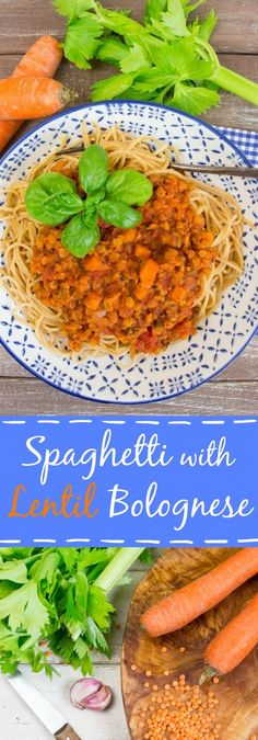 Spaghetti with lentil Bolognese, vegan, hearty, delicious, and packed with protein and iron. Perfect for Italian pasta nights!