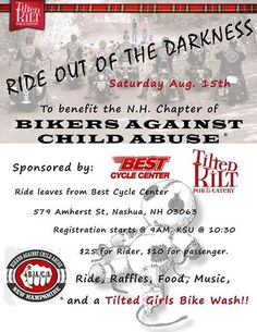 Nashua, NH - Aug. 15, 2015: Bikers Against Child Abuse (B.A.C.A.) Ride Out of the Darkness.