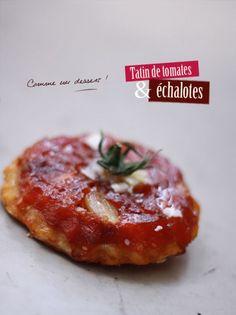 Tarte tatin tomates échalotes Veggie Recipes, Gourmet Recipes, Cooking Recipes, Vegetarian Appetizers, Appetizer Recipes, Good Food, Yummy Food, International Recipes, Creative Food