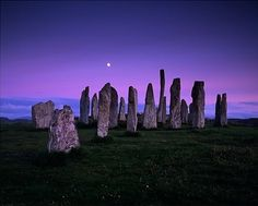 The Callanish Stones, Clachan Chalanais or Tursachan Chalanais in Gaelic, are situated near the village of Callanish on the west coast of Lewis in the Outer Hebrides. Wikipedia