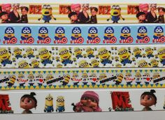 """5  Yds 1"""" and 7/8"""" Mixed Lot Despicable Me Inspired grosgrain Ribbon 1 Yard Each"""