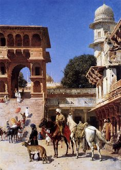 Departure For The Hunt - Oil Painting by American Artist Edwin Lord Weeks    ::::    PINTEREST.COM christiancross    ::::