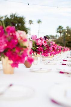Palm Springs Wedding from Birds of a Feather + Bash, Please Fuschia Wedding, Hot Pink Weddings, Spring Wedding Flowers, Summer Wedding, Hot Pink Bridesmaids, Raspberry Wedding, Hot Pink Flowers, Beautiful Flowers, Pink Wedding Invitations