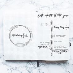 Bullet journal monthly layout, November layout, linear calendar, monochromatic layout. @the.bullet.journey
