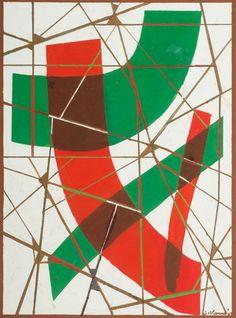 Sam Vanni 1908-1992 KOMPOSITION. (d)    Sign. -67. Gouache 59,5x43,5 cm