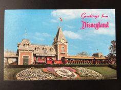 Vintage Disneyland Main Street U.S.A. Postcard - Entrance to Disneyland - Santa Fe Railroad Train at Station by VintageDisneyana on Etsy