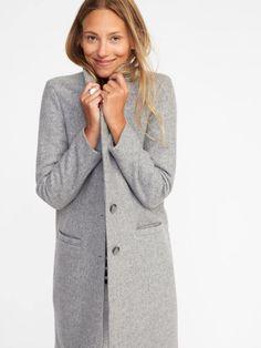 Long Wool-Blend Grey Coatigan