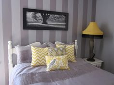 love the grey/yellow scheme, love the stripes, love the pillows...cant wait to have my own house again!