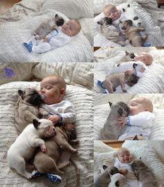 Demasiado tierno... #Cachorros y #bebe en plena #armonía...