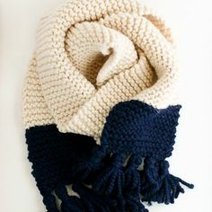Very simple scarf for first project.  Discuss gauge, maintaing edge structure, changing colors, (adding fringe)?