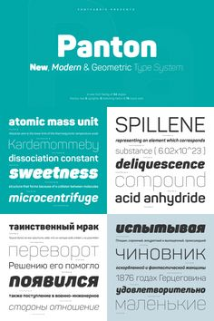 The Panton font family consists of 34 weights including 9 uprights plus 9 matching italics and 16 icon sets. Its extended character set supports multiple languages including cyrillic letters.