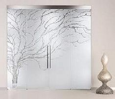 Frosted glass sliding doors.