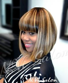 Full sew-in with no leave out with an added bob cut and style.