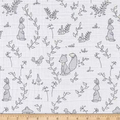 Shannon Embrace Double Gauze Sweet Melody Small Wonders Cloud from @fabricdotcom  Designed by Carrie Tomaschko of Sweet Melody Designs for Shannon Fabrics, this ultra soft double gauze fabric consists of two layers of gauze tacked together. This fabric features an assortment of leaves in various colors. It is perfect for making popular swaddling blankets, bibs, burp cloths, bedding and baby accessories. Colors include grey, cream, and white.