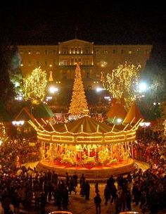Syntagma square in Athens with a Christmas Carousel
