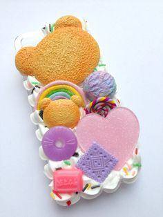Kawaii Cute Decoden Biscuit Food Bear Rainbow Pastel Jelly Sweet Ice Cream Scoop Glitter Heart Whipped Cream iPhone 5 Cell Phone Case