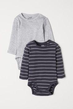 50fcf7cba0628 2-pack long-sleeved bodysuits - Grey Striped - Kids