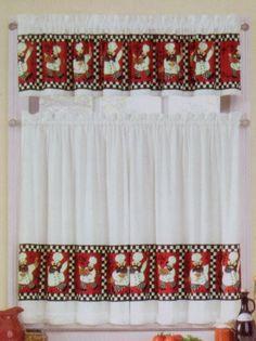 Fat Italian French Bistro Chef Red Black White Kitchen Window Curtains Valance Interiorsbydesign