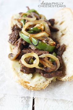 Thinly sliced sautéed beef with melty pepperjack cheese, served with grilled onions and peppers on a toasty hoagie roll!