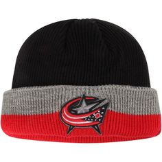 c94fab2af05 Men s Columbus Blue Jackets Reebok Black Red Center Ice Travel   Training  Captain s Cuffed Knit Hat