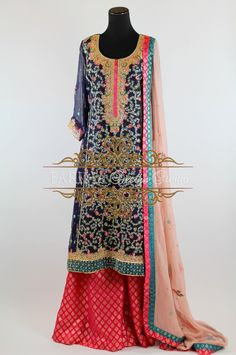 BLUE AND PINK WITH INTRICATE GOTA WORK