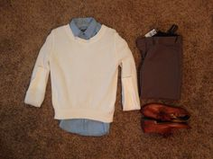 Fall Work: Express Denim Boyfriend Button Up, Banana Republic Cream Pullover, Express Heathered-Rye Barely Boot Pants, Frye Whiskey Jillian Oxfords