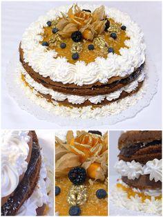 Naked Cake Marta Rocha com ameixa, damasco, nozes crocantes, creme belga e chantilly