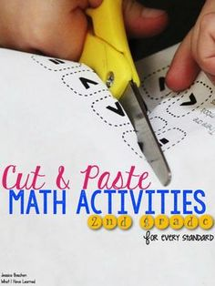Cut and Paste Math Activities for Second Grade {Every Standard}.  Easy worksheets for students to do during math workshop.  #mathworkshop #cutandpaste #math #secondgrade