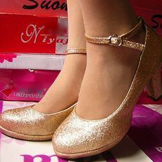 Cute Gold Champagne Comfortable Wedding Bridal Party Bridesmaid Prom Shoes SKU-1090081
