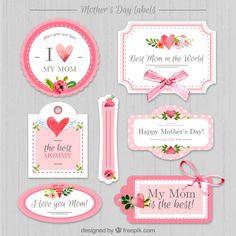 etiquetas do dia das mães do vintage Vetor Premium